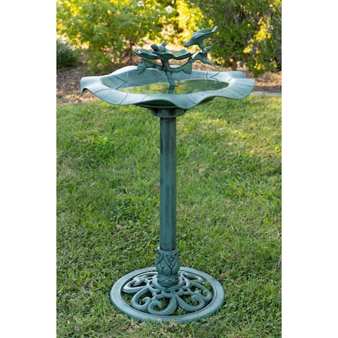 Alpine Corporation Plastic Birdbath with Feeder