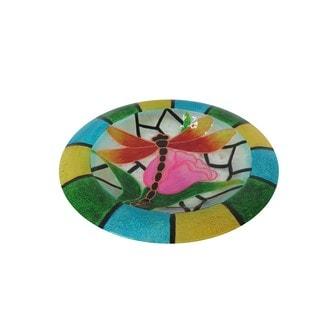 18-inch Glow in the Dark Glass Dragonfly Birdbath