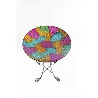 16-inch Mosaic Multi Colored Birdbath With Metal Stand
