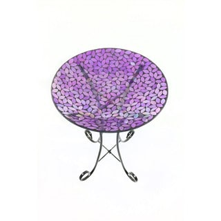 16-inch Mosaic Purple Birdbath With Metal Stand