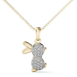 AALILLY 10k Yellow Gold Diamond Accent Rabbit Pendant Necklace