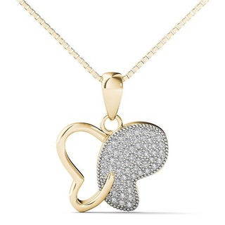 10k Yellow Gold 1/5ct TDW Diamond Butterfly Pendant Necklace (H-I, I1-I2)