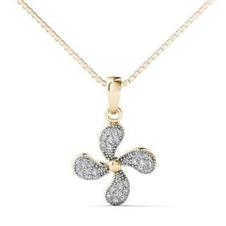 10k Yellow Gold 1/10ct TDW Diamond Fashion Pendant Necklace