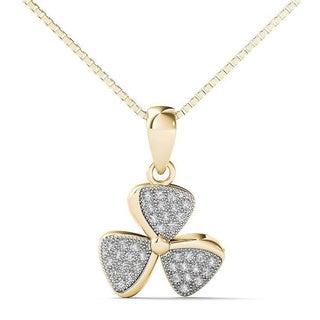 10k Yellow Gold 1/8ct TDW Diamond Fan Blades Pendant Necklace (H-I, I1-I2)