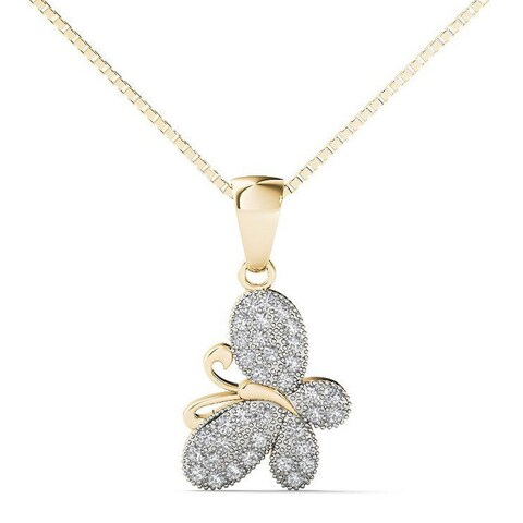AALILLY 10k Yellow Gold 1/10ct TDW Diamond Butterfly Pendant Necklace