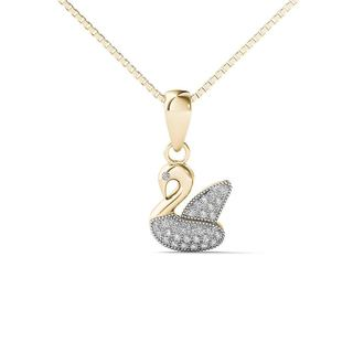 AALILLY 10k Yellow Gold Diamond Accent Duck Pendant Necklace