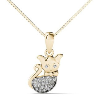 AALILLY 10k Yellow Gold Diamond Accent Cat Pendant Necklace