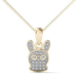 AALILLY 10k Yellow Gold Diamond Accent Long Ear Rabbit Pendant Necklace