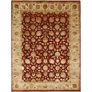 Hand-Knotted Oriental Pattern MediumRed/ MediumIvory Area Rug (5' x 8')