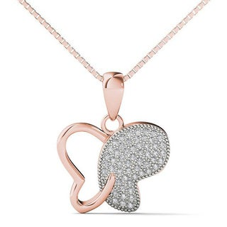 AALILLY 10k Rose Gold 1/5ct TDW Diamond Butterfly Pendant Necklace