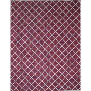 Flat Weave Geometric Pattern Red Area Rug (5' x 8')