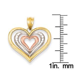 Versil 14k Tri-color Gold Diamond-cut Heart Pendant