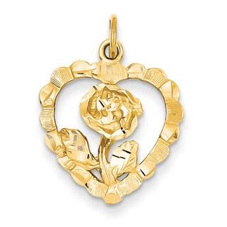 Versil 14k Yellow Gold Rose in Heart Charm