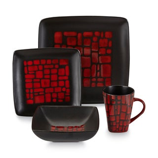 Gibson Bella Carmine 16 Piece Dinnerware Set
