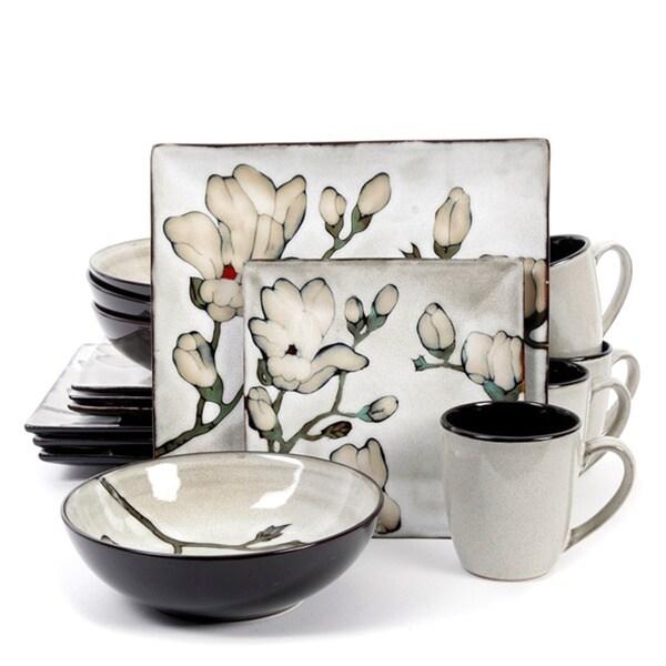 Claretta Grey Floral Stoneware 16 Piece Dinnerware Set