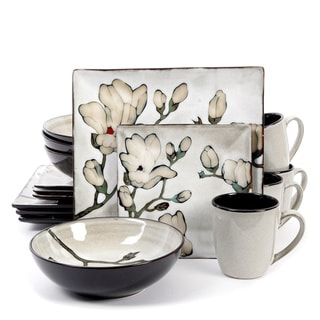 Claretta Grey Floral Dinnerware Set (16 Piece)