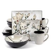 Claretta Grey Floral Stoneware 16-Piece Dinnerware Set (Service for 4)