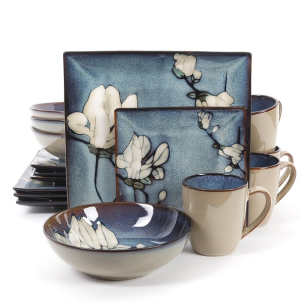 Bloomsbury Blue Flower Stoneware 16-Piece Dinnerware Set (Service for 4)  sc 1 st  Overstock.com : dinnerware sets blue - pezcame.com