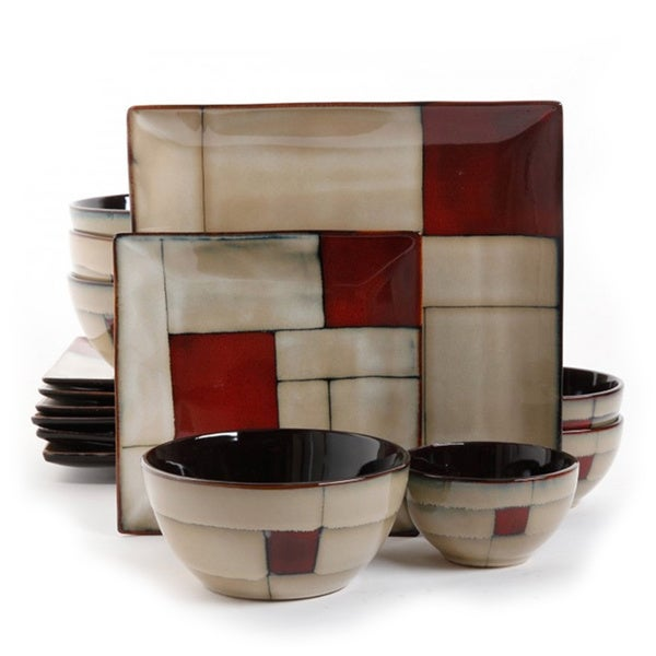 Elite Azeal Taupe Geometric Design 16-Piece Dinnerware Set (Service for 4)