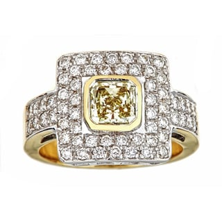 18k Two-tone Gold 2 1/5ct TDW White and Fancy Light Yellow Diamond IGI Certified Ring
