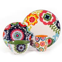 4 Piece Dinnerware Set with Abstract Floral Pattern