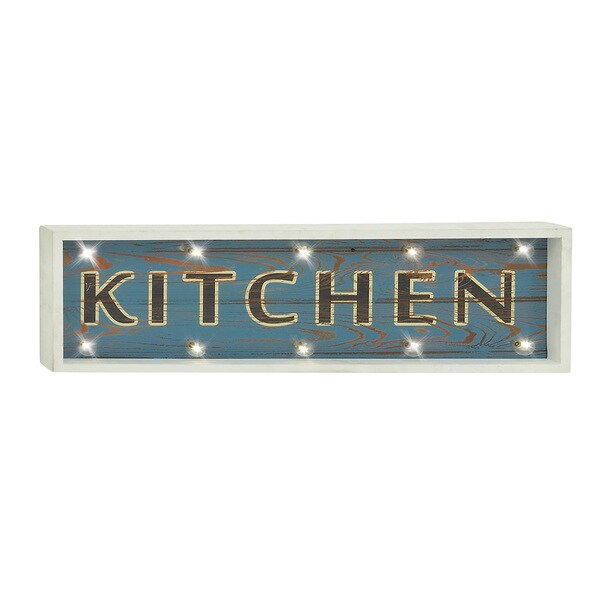 "Lighted Kitchen Signs: Shop LED Distressed Wood ""Kitchen"" Wall Sign"