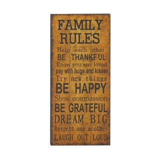 "Wood ""Family Rules"" Wall Decor"