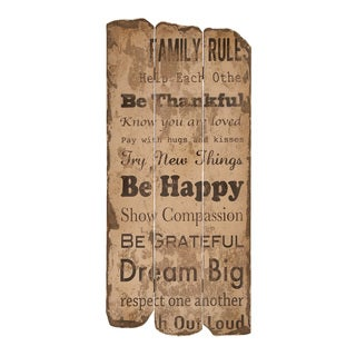 Wood Family Rules Wall Decor