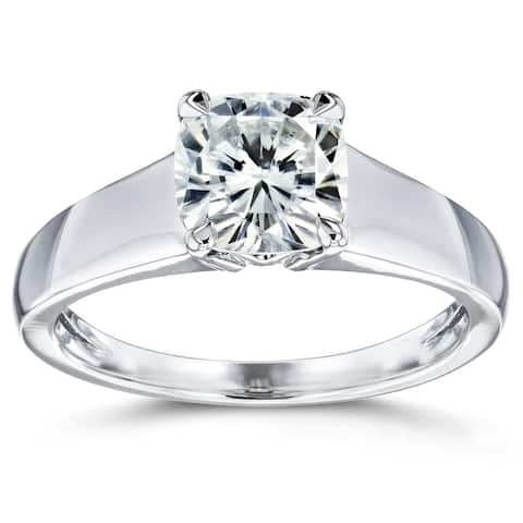 Annello by Kobelli 14k White Gold 1 1/10 Carat Cushion Moissanite Classic 4-Prong Wide Solitaire Ring (GH/VS)