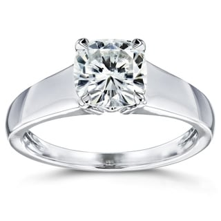Annello by Kobelli 14k White Gold 1 1/10ct Cushion-cut Moissanite Classic Solitaire Ring