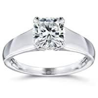 Annello by Kobelli 14k White Gold 1 1/10 Carat Cushion Moissanite Classic 4-Prong Wide Solitaire Ring (HI/VS)