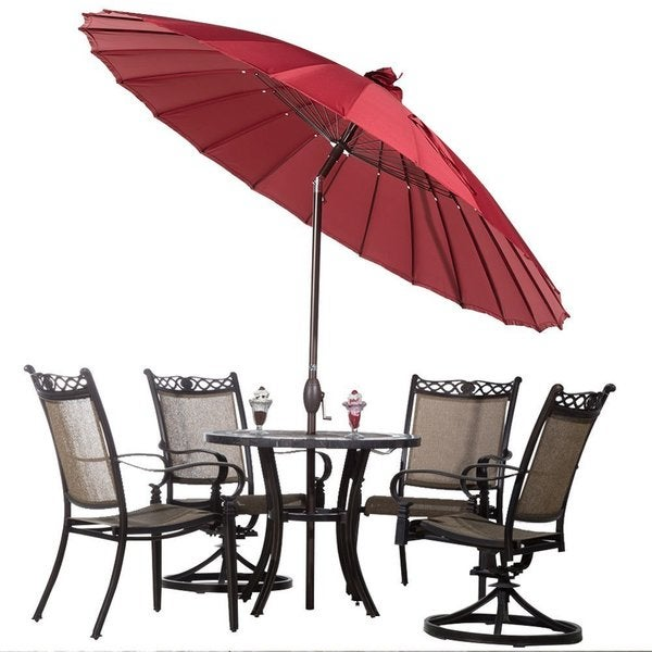 Beau Abba Push Button Tilt And Crank 8.5 Foot Parasol Patio Umbrella
