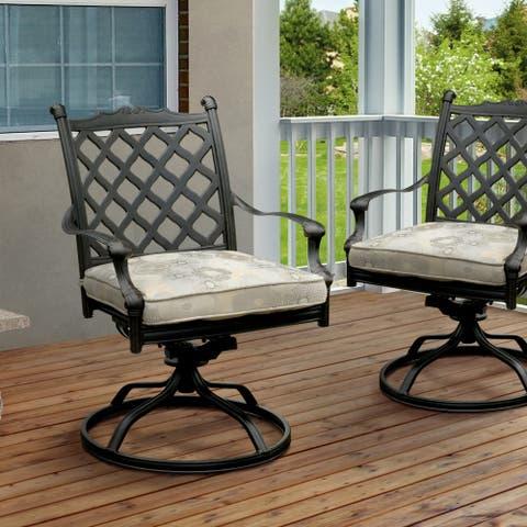 Furniture of America Tinn Modern Black Outdoor Rocking Chairs Set of 2