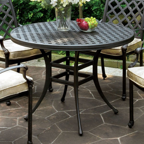 Furniture Of America Camille Outdoor Metal Round Dining Table Free