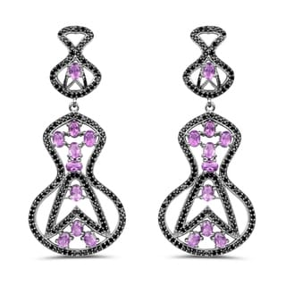 Olivia Leone 5.30 Carat Genuine Amethyst and Black Spinel .925 Sterling Silver Earrings