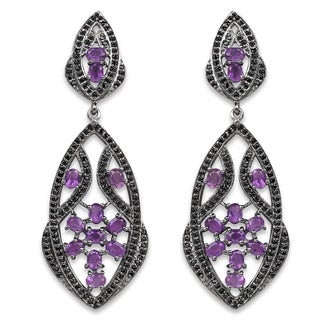 Olivia Leone 5.74 Carat Genuine Amethyst and Black Spinel .925 Sterling Silver Earrings