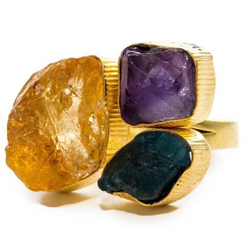 Gold-overlay Amethyst/ Apatite/ Citrine Ring (India