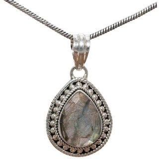 Handmade Sterling Silver Teardrop Labradorite Necklace (India) - Brown