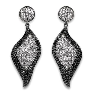 Olivia Leone 4.21 Carat Genuine White Topaz and Black Spinel .925 Sterling Silver Earrings