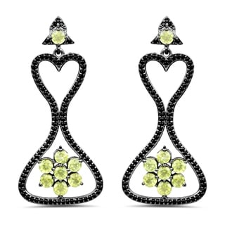 Olivia Leone Sterling Silver 6 7/8ct TGW Genuine Peridot and Black Spinel Earrings