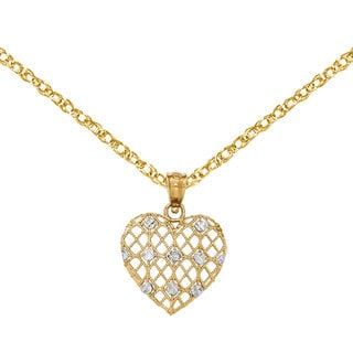 Versil 14k Yellow Gold Diamond Accent Heart Pendant with 18-inch Chain