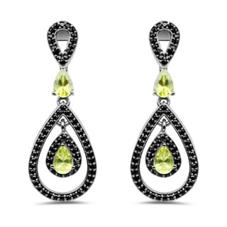 Olivia Leone 2.60 Carat Genuine Peridot and Black Spinel .925 Sterling Silver Earrings