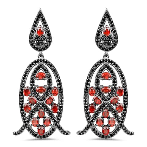 Olivia Leone 7.63 Carat Genuine Garnet and Black Spinel .925 Sterling Silver Earrings
