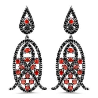 Olivia Leone 7.63 Carat Genuine Garnet and Black Spinel .925 Sterling Silver Earrings