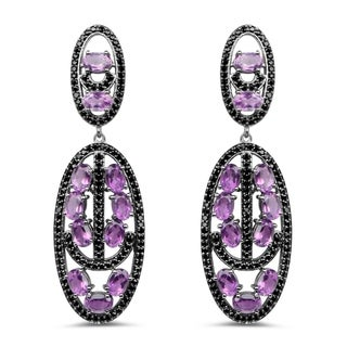 Olivia Leone 12.45 Carat Genuine Amethyst and Black Spinel .925 Sterling Silver Earrings