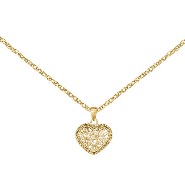 Versil 14k Yellow Gold Open Wire Heart Pendant - Free Shipping Today ...