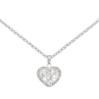 Versil 14 Karat White Gold Open Wire Heart Pendant with 18-inch Chain