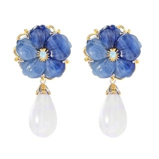 Michael Valitutti Carved Flower Earrings with Kyanite/ White Coral and Swiss Blue Topaz