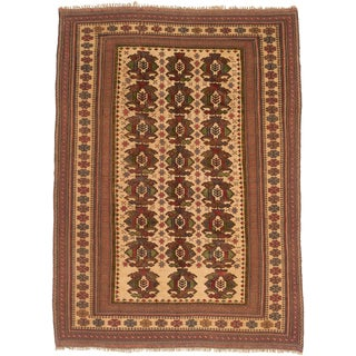 Ecarpetgallery Hand-knotted Tajik Tribal Brown and Yellow Wool Rug (6'3 x 8'8)