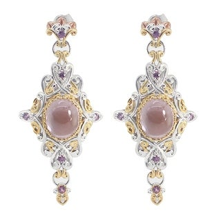 One-of-a-kind Michael Valitutti Kunzite with Pink Mussel Shell and Rhodolite Earrings